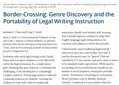 Chew, Alexa et al.: Border-Crossing: Genre Discovery and the Portability of Legal Writing Instruction